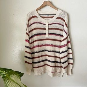 American Eagle   Striped Henley Sweater